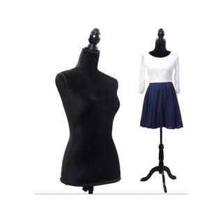 Half-Length Foam & Brushed Fabric Coating Lady Model for Clothing Display Black Size 36