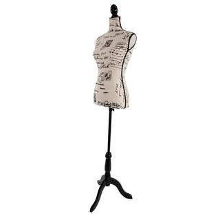 Half-Length Letter Pattern Foam & Brushed Fabric Coating Lady Model for Clothing Display Black
