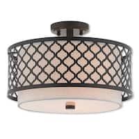 Livex Lighting 41112-92 Arabesque 3 Light Bronze Indoor Flush Mount