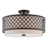 Livex Lighting 41113-92 Arabesque 3 Light Bronze Indoor Flush Mount