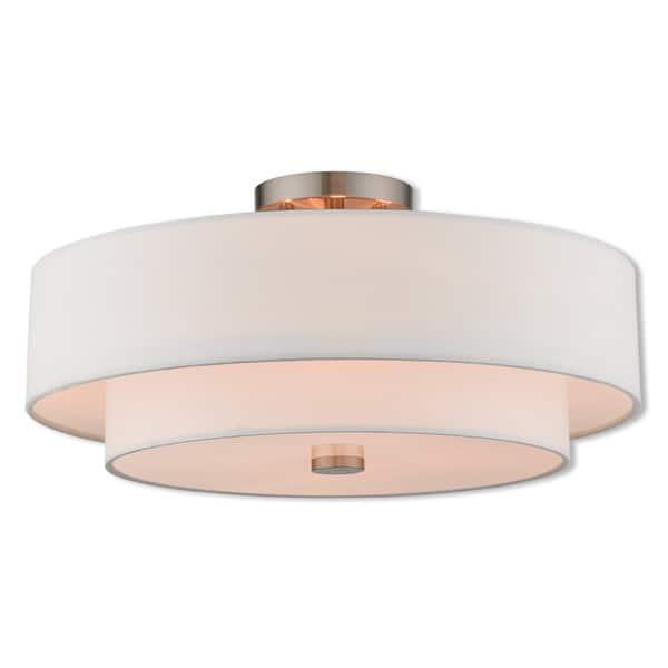 Livex Lighting Claremont 4 Light Brushed Nickel Indoor Flush Mount Bronze