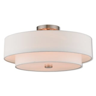 Livex Lighting 51045-91 Claremont 4 Light Brushed Nickel Indoor Flush Mount