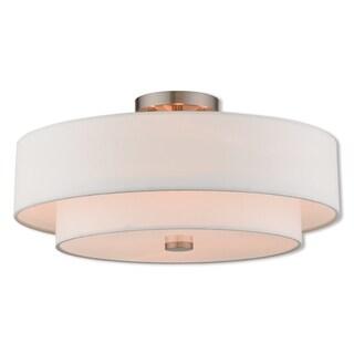 Livex Lighting 51045-91 Claremont 4 Light Brushed Nickel Indoor Flush Mount
