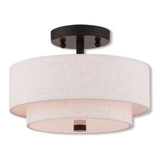 Livex Lighting Claremont Bronze-finished Steel 2-light Indoor Flush Mount Light Fixture with Cream Fabric Shades