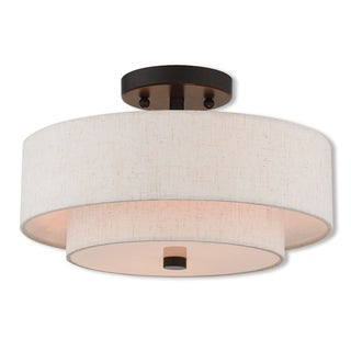 Livex Lighting Claremont Bronze-finished Steel 2-light Indoor Flush Mount Light Fixture with Brown Fabric Shades