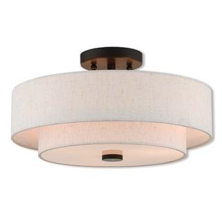 Livex Lighting 51084-92 Claremont 3 Light Bronze Indoor Flush Mount