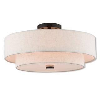 Livex Lighting 51085-92 Claremont 4 Light Bronze Indoor Flush Mount