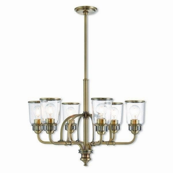 Livex Lighting Lawrenceville Antique Brass-finished Steel 6-light Indoor Chandelier with Clear Glass Shades