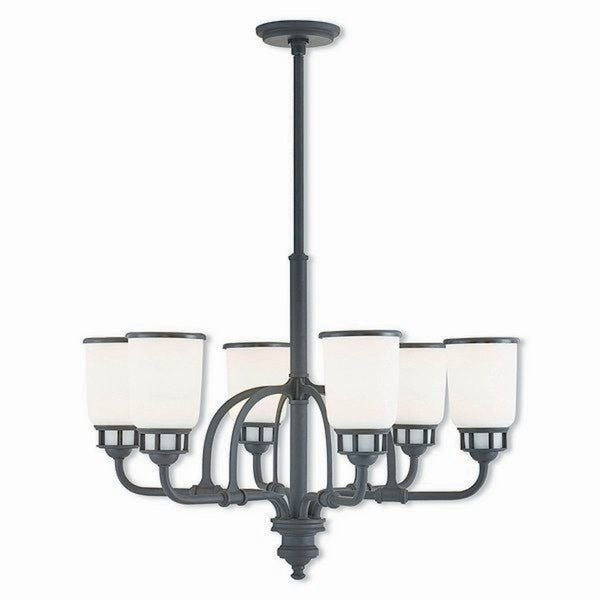 Livex Lighting Lawrenceville Bronze-finished Steel 6-light Indoor Chandelier with Frosted Glass Shades