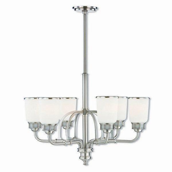 Livex Lighting 40027-91 Lawrenceville Brushed Nickel Finish Steel Indoor 6-light Chandelier