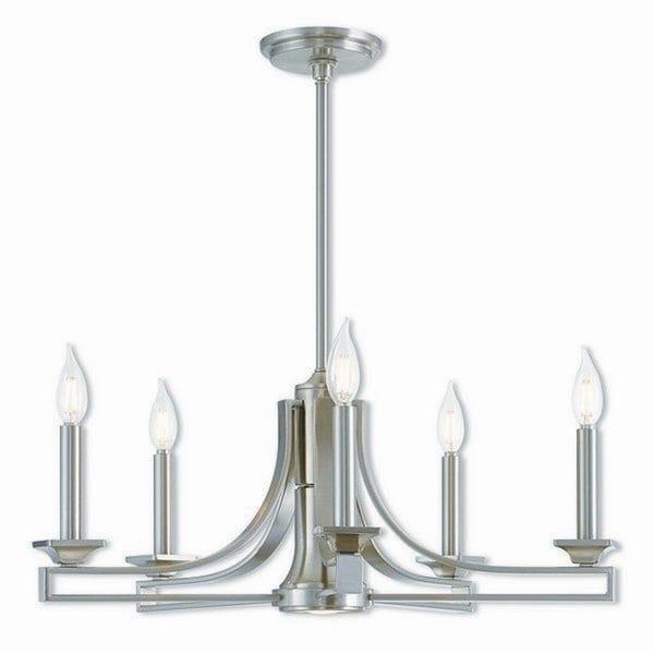 Livex Lighting Trumbull Brushed Nickel-finished Steel 6-light Indoor Chandelier