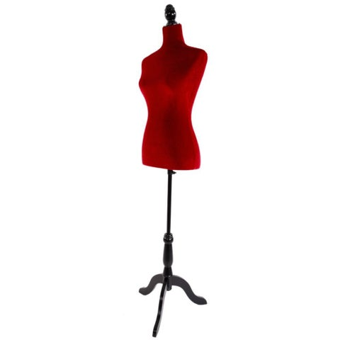 Half-Length Foam & Brushed Fabric Coating Lady Model for Clothing Display Red