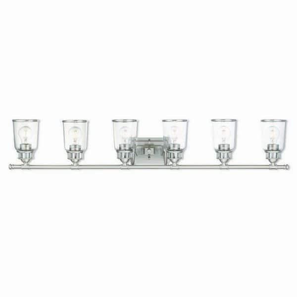 Livex Lighting Lawrenceville Brushed Nickel Clear Glass Vanity Light Silver Overstock 16049025