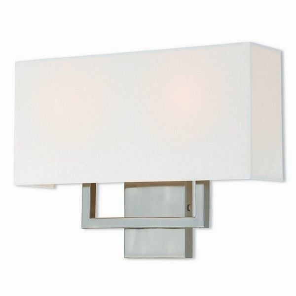 Livex Lighting Pierson Brushed Nickel Finished Steel 2 Light Wall Sconce With Cream Fabric