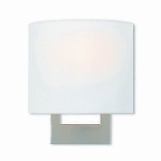 Livex Lighting Hayworth Brushed Nickel-finished Steel 1-light Wall Sconce with Cream Fabric Shade