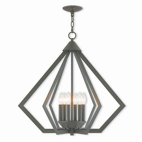 Livex Lighting Prism Bronze-finished Steel 6-light Indoor Chandelier