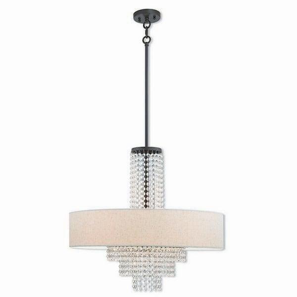 Livex Lighting Carlisle Bronze-finished Steel 5-light Indoor Chandelier with Cream Fabric Shade