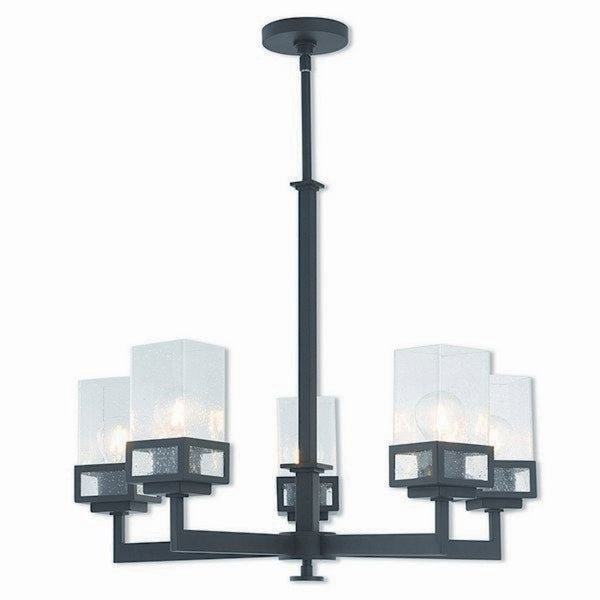 Livex Lighting Harding Bronze-finished Steel 5-light Indoor Chandelier with Clear Glass Shades