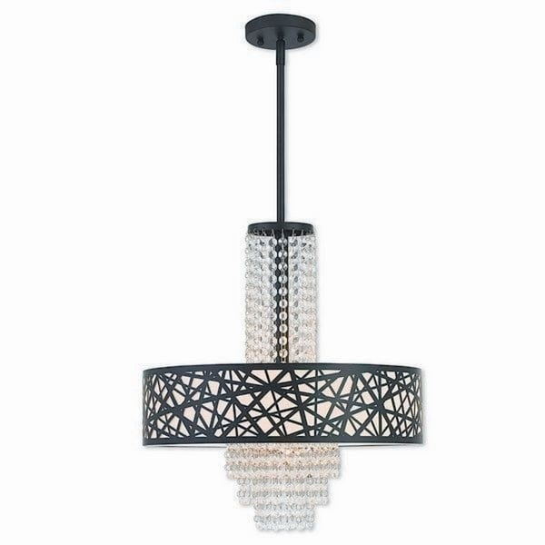 Livex Lighting Allendale Bronze-finished 4-light Indoor Chandelier with Cream Shade
