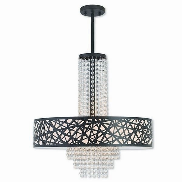 Livex Lighting Allendale Bronze-finished Steel 5-light Indoor Chandelier with Cream Fabric Shade