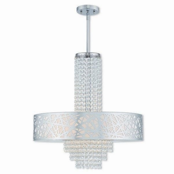 Livex Lighting Allendale Polished Chrome 5 Light Indoor Chandelier With Cream Fabric Shade