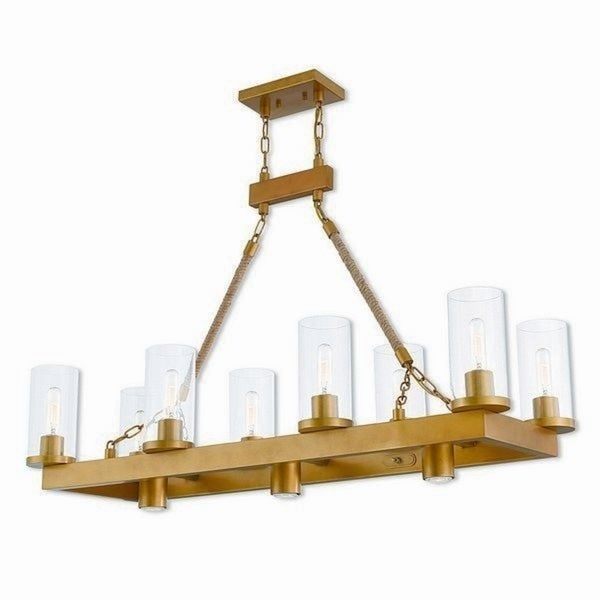 Livex Lighting Metuchen Aged Goldtone Steel 11-light Indoor Chandelier with Clear Glass Shades