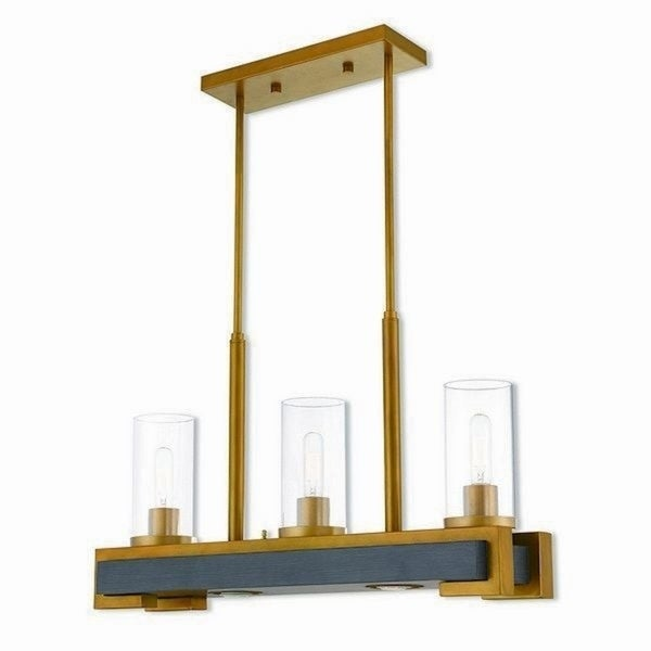 Livex Lighting Buttonwood Aged Goldtone-finished Steel 5-light Indoor Chandelier with Clear Glass Shades