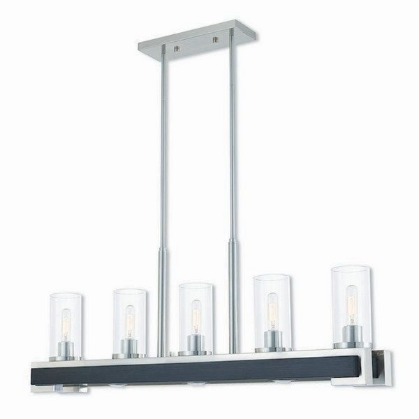 Livex Lighting Buttonwood Brushed Nickel-finished Steel 8-light Indoor Chandelier with Clear Glass Shades