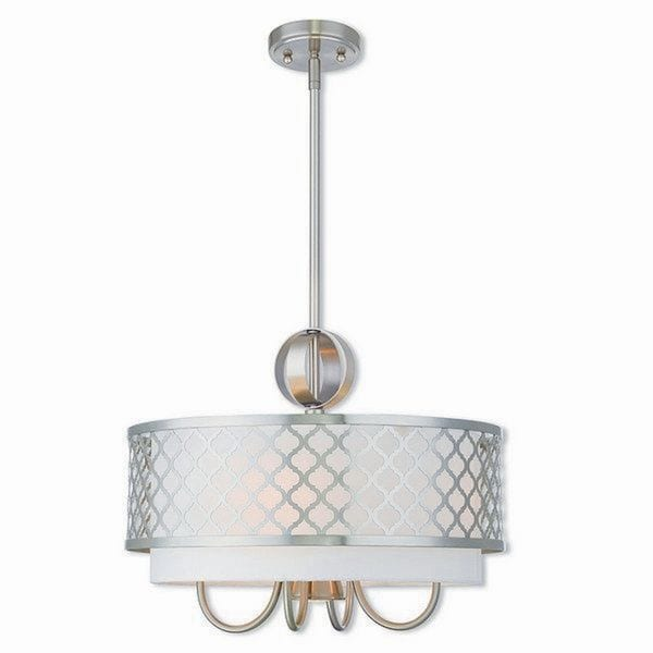 Livex Lighting 41104-91 Arabesque 5 light Brushed Nickel Indoor Chandelier