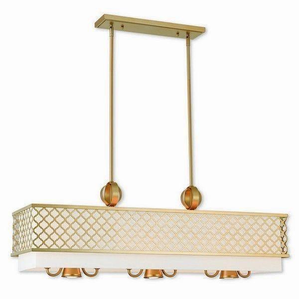Livex Lighting 41106-33 Arabesque White/Goldtone Metal 9-light Indoor Chandelier