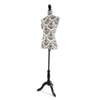 Half-Length Foam & Brushed Fabric Coating Lady Model for Clothing Display White Background & Black Pattern