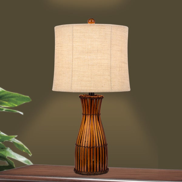 Fangio Lighting's 26 in. Bamboo Table Lamp in a Brown Finish