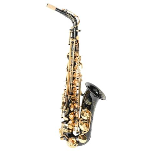 LADE WSS-896 Be Brass Carving Pattern Pearl White Shell Button Saxophone with Strap Black