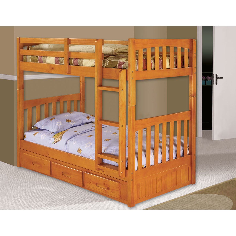 Cambridge Braeburn Honey Wood Bunk Bed (Honey), Tan, Size...