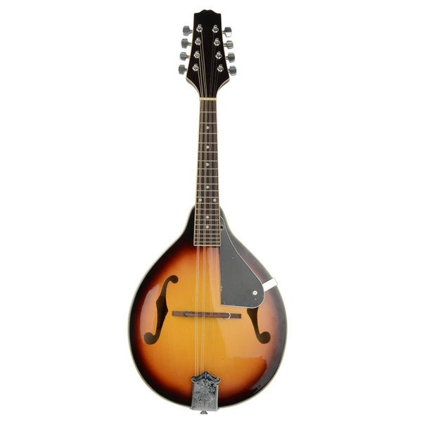 IRIN Sunset Style Elegant Cambered Wood Mandolin with Acoustic Strings Black & Golden. Opens flyout.