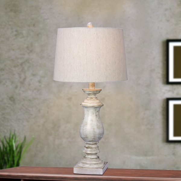 Fangio Lighting's 29.5 in. Resin Table Lamp in a White Finish