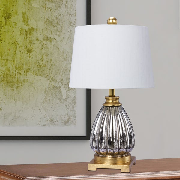 Fangio Lighting's 23 in. Glass & Resin Table Lamp in a Mercury Glass & Antique Gold Finish