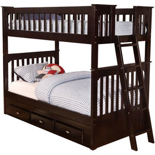 Cambridge Braeburn Espresso Wood Twin-over-twin Bunk Bed with Storage Drawers