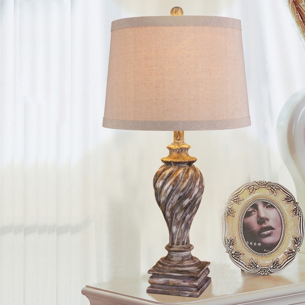 Fangio Lighting's 28 in. Resin Table Lamp in an Antique Beige Finish