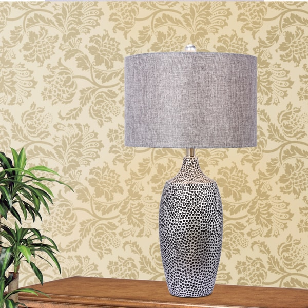 Fangio Lighting's 29 in. Resin Table Lamp in a Dark Silver Finish