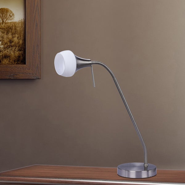 Fangio Lighting's 15-22 in. Metal Table Lamp in a Brushed Steel Finish