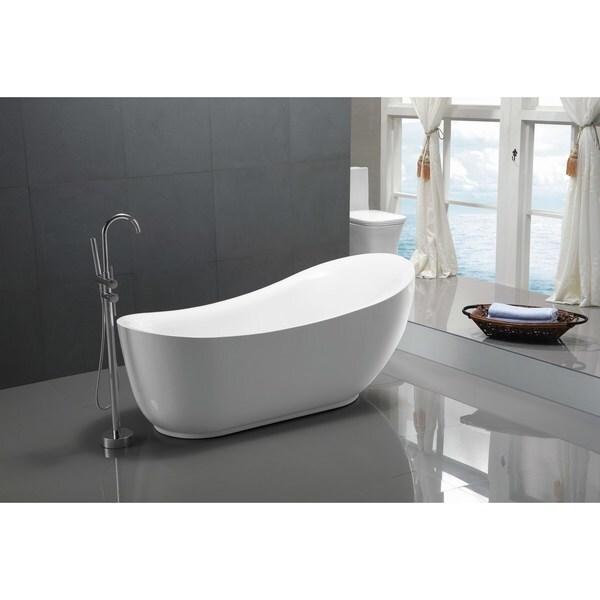 ANZZI Talyah Series 5.92 ft. Freestanding Bathtub in White