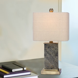 Fangio Lighting's 19 in. Stone & Metal Table Lamp in a Natural Stone & Antique Brass Finish
