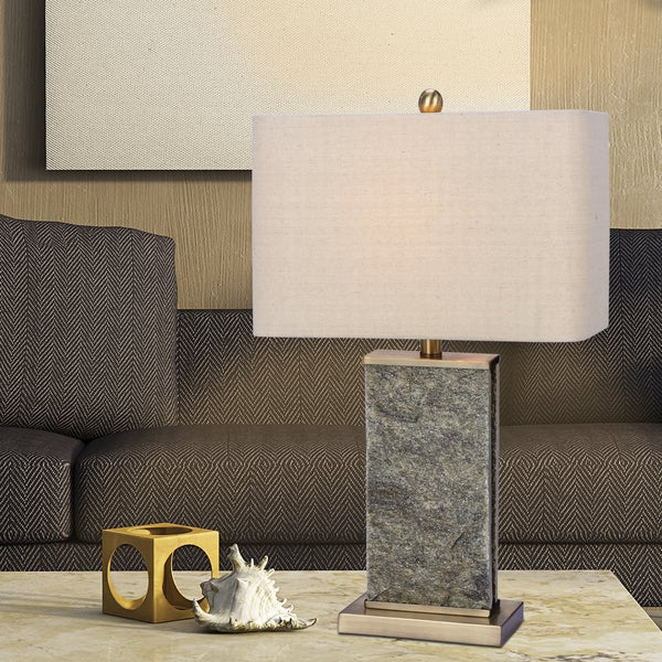 Fangio Lighting's 26 in. Stone & Metal Table Lamp in a Natural Stone & Antique Brass Finish