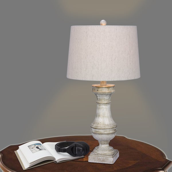 Fangio Lighting's 29 in. Resin Table Lamp in a White Finish