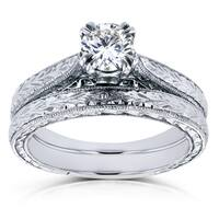 Annello by Kobelli 14k White Gold 1/2ct TDW Round Diamond Vintage Bridal Set