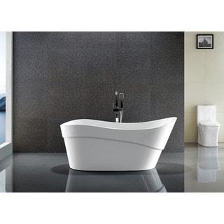 ANZZI Kahl Series 5.58 ft. Freestanding Bathtub in White