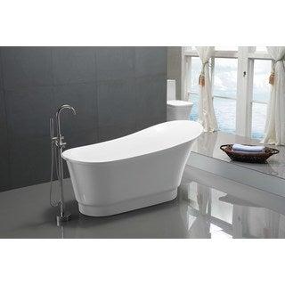 ANZZI Prima Series 5.58 ft. Freestanding Bathtub in White