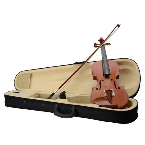 4/4 Acoustic Matt Violin, Case, Bow, Rosin, Strings, Shoulder Rest, Tuner Natural