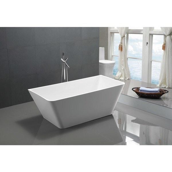 ANZZI Zenith Series 5.58 ft. Freestanding Bathtub in White